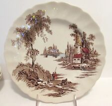 "2 JOHNSON BROS THE OLD MILL 10"" DINNER PLATES ENGLAND"