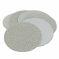 Silver Beaded Tea Coasters - 4-Inch Placemats for Teacups - Set of 6 Cup Coaster