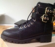river island lace up and buckle boots size 3