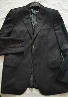 CALVIN KLEIN SMART DESIGNER BLACK HERRINGBONE SUIT JACKET UK 40R EU 50R