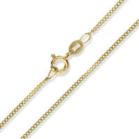 "9CT GOLD CURB CHAIN 16"" 18"" 20"" FINE DIAMOND CUT FLAT LINK PENDANT NECKLACE BOX"