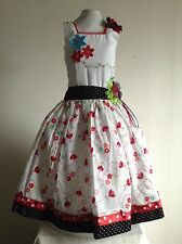 Girls Dress Size 6 Multicolor Printed Lady Bug Embroidered Handmade Birthday