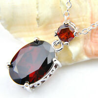 Mother's Gift Oval Fire Red Garnet Gemstone Silver Necklace Pendant With Chain