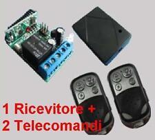 Ricevitore radio 1 Rele + 2 Trasmettitori A 433MHz telecomando cancelli serrande