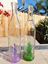 Handblown EMPTY Porfidio Tequila Glass Bottle LOT Purple & Green Cactus Decor