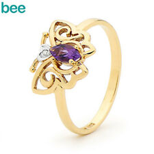 Amethyst Diamond 9ct 9k Solid Yellow Gold Heart Ring Size P 7.75 24661/am
