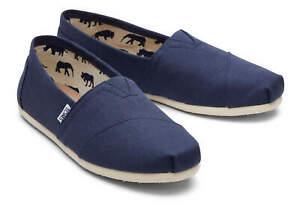TOMS Men Slip On Shoes Classic Alpargata Navy Canvas