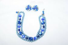 Vintage Trifari Triple Strand Blue Bead Pearl Choker Necklace with Matching Earr