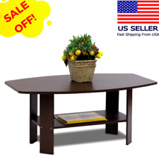 Small Modern Coffee Table with Underneath Storage Shelf Espresso Dark Wood