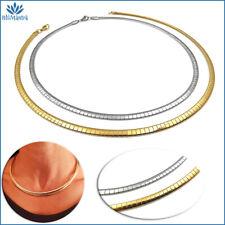 Collana girocollo da donna snake semi rigido piatta in acciaio inox oro argento