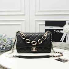 Brand New Authentic Chanel Small Classic Black Flap bag With Large BiColor Chain
