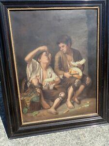 Antique Oil Painting Bartolome Esteban Murillo Beggars Eating Melon & Grapes