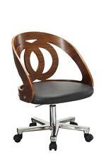 Jual Furnishings PC606 Retro Vintage Style Curve Office Desk Chair Walnut
