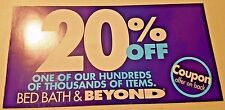 BED Bath BEYOND Coupon IN Store 20 OFF Percent ONE Single ITEM Expires 1/30/2017