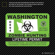 Washington Zombie Hunting Permit Sticker Die Cut Decal Outbreak Response Team