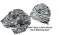 $84 DKNY Designer 2 pc Value Pack Fuzzy Animal Scarf Hat Matching White Black