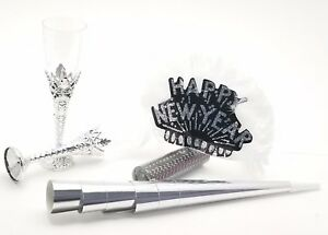 6 Ladies night  New Years kit feather tiaras blowers confetti glasses - silver