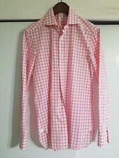 Pre-owned Barba Napoli Shirt Pink Check Sz 15 38