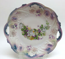 Germany Porcelain Purple Luster & White Roses Plate w/ Handles