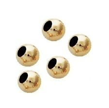 """14K GOLD FILLED 4 MM Pkg Of 25 BRIGHT """"LARGE HOLE""""SEAMLESS ROUND BEADS"""