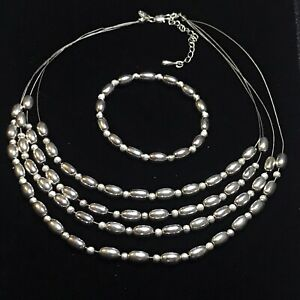 M&S Multi Strand Layered Silver Tone Metal Bead Wire Short Necklace Bracelet Set