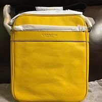 NWT Authentic Coach Mens Flight Bag in Smooth Leather F71723 $295 Banana