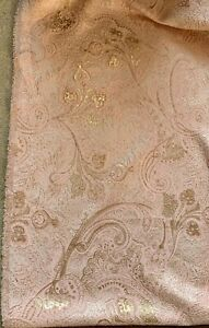 """PAISLEY FLORAL PEACH GOLD CORDED METALLIC SOFT BROCADE FABRIC 56"""" WIDE 1 YARD"""