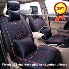 5 Seats Auto Car Seat Cover Black W/ Red Size M W/ Neck&Lumbar Pillow PU leather