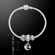 Moon and Star .925 Sterling Silver Bead Bracelet by Peter Stone