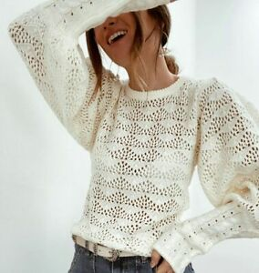 UK Women Casual Pullover Knit Sweater Winter Puff Sleeve Sexy Hollow Tops Jumper