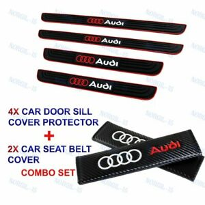 For Audi Black Car Door Scuff Sill Cover Panel Step Protector +Seat Belt Cover