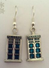 FUNKY DR WHO INSPIRED POLICE BOX DROP EARRINGS Silver Plated Hooks, Gift Bag