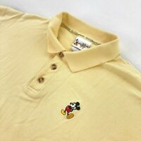 Walt Disney World Men's Mickey Mouse Embroidered Polo Shirt Yellow • Large