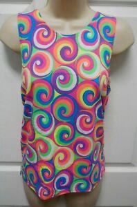 Crazy curl tank shirt boys Mens sizes dance costume top 70's print pinwheel NWT