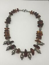 Sterling Silver Baltic Amber Modernist Necklace