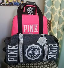 RARE VICTORIA'S SECRET PINK VIP 3PC GRAY MARL LUGGAGE SET NWT