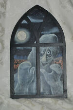GHOST IN WINDOW RUSTIC WOODEN DECORATION PLAQUE SIGN HANGING