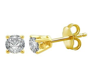 Genuine Round Diamond Prong Stud Earrings in 10k Solid Yellow Gold
