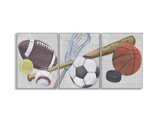 The Kids Room by Stupell Sports Balls 3-Pc Rectangle Wall Plaque Set 11x0.5x15