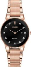 Citizen Eco Drive Axiom Diamond Black Dial Rose Gold Tone Women Watch GA1058-59Q
