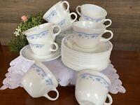 32PC Set Pyrex Morning Blue Floral Milk Glass Coffee Mug Tea Cup Corelle Saucer
