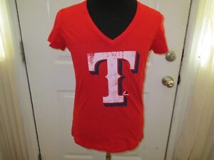Brand New w/Tags Texas Rangers Womens Mixed Sizes Red Majestic V-Neck Shirt