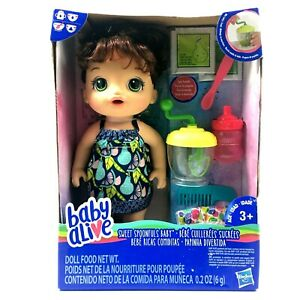 Baby Alive Sweet Spoonfuls Baby Drinks Eats And Wets Diaper Brown Hair