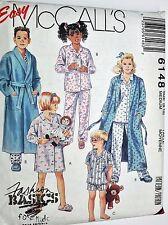 McCalls Sewing Pattern # 6148 Children's Robe, Belt, Pajamas, Nightshirt Sz 8-10