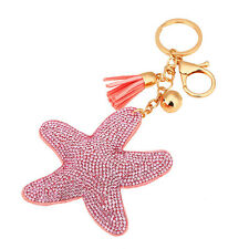 Leather Key Chain Car Key Ring Star Starfish Pendant Crystal Rhinestone Keychain