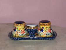 Polish Pottery Salt/Pepper/Toothpick/Tray Set! UNIKAT Signat Butterfly Summer!