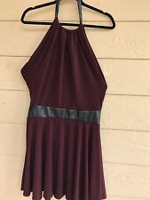 Victoria's Secret Purple Smocked  Halter Cami Tank Dress Leather Waist Size S/P