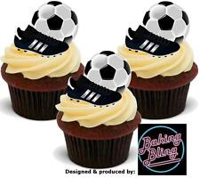 12 Novelty Football Balls & Boots STAND UP Edible Cake Toppers Decorations Boys