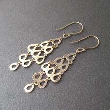 Boucles d'oreilles pendantes gouttes ajourées en plaqué or 750/000 BO255-J