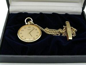 Seiko Pocket Watch 7431-0020 Quartz Gold with Strap Excellent from Japan F/S